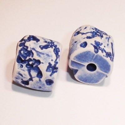 ethnic bead blauw 9x15 mm