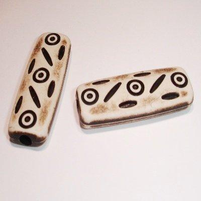 ethnic bead bruin 40x14x6 mm