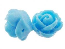 kunststof roosje 9 mm aqua blauw