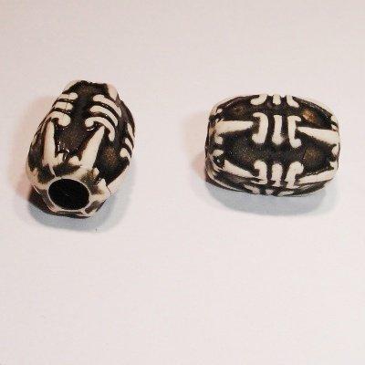 ethnic bead zwart ovaal 13x11 mm