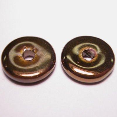 keramiek schijf parelmoer bruin 14 mm