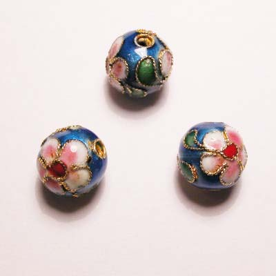 emaille parel bloem rond turkoois 10 mm