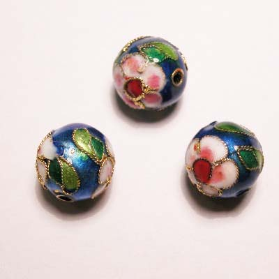 emaille parel bloem rond turkoois 12 mm