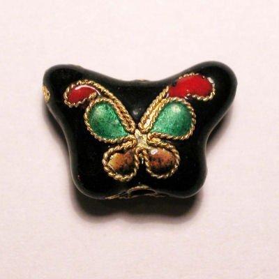 emaille parel bloem vlinder zwart 10 x 14 mm