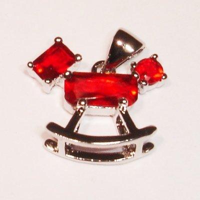 emaille hanger schommelpaard rood 20 mm