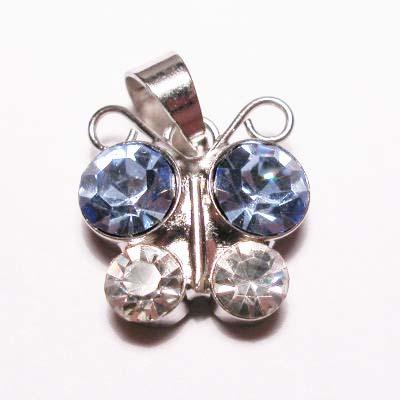 emaille hanger vlinder l.blauw 15mm