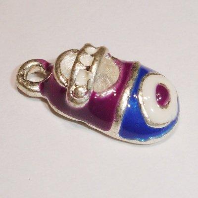 metalen kinderschoen blauw/paars 14 x 8 mm