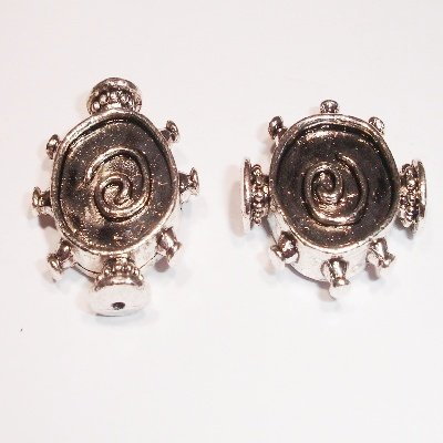 metalen kraal antiek zilver 20 x 17 mm