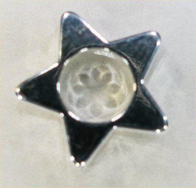 kraal verzilverd open ster twee gaatjes 10 mm