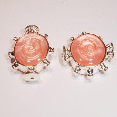 metalen kraal roze/zilver 20 x 17 mm