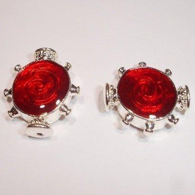 metalen kraal rood/zilver 20 x 17 mm