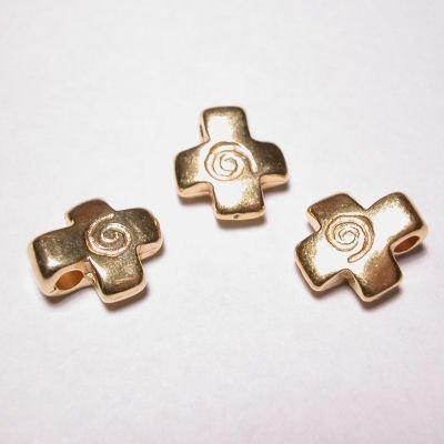kraal kruis mat goud 11x13mm