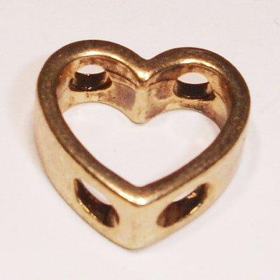 kraal 2 oog hart mat goud 14 x 14 mm