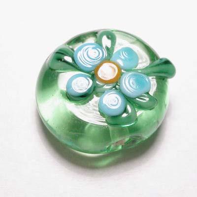 design kraal bloem plat rond groen 13 mm