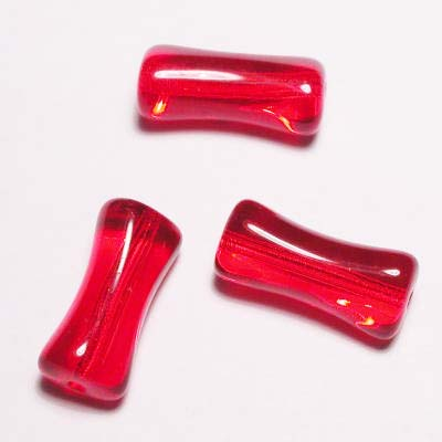 kraal botje transparant rood 15x8 mm