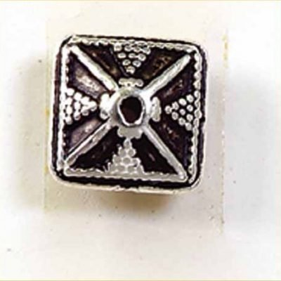 kraal verzilverd vierkant plat 7 mm