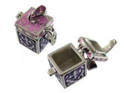 prayer box vierkant  roze/paars 13x12x12 mm