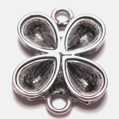druppel 2-oog oud zilver 27x27 mm