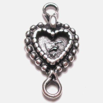 hart 2-oog oud zilver 25x12 mm