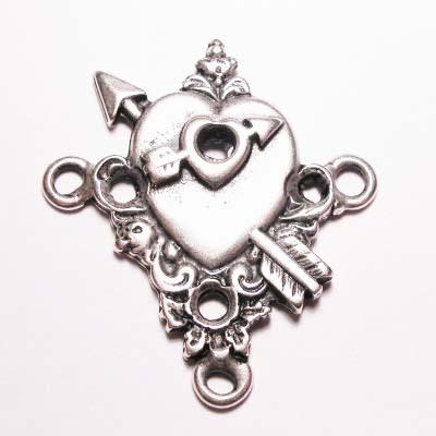hart 3-oog oud zilver 38x34 mm