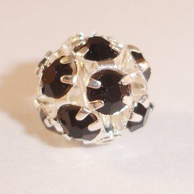 metalen strass bol 10 mm zwart