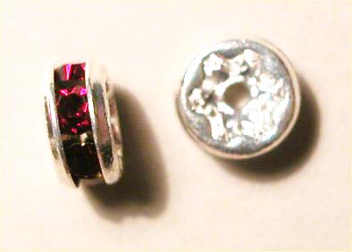 strass rondel zilver siamrood 5 mm