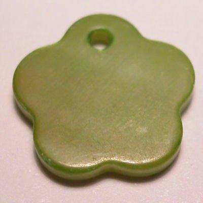 parelmoer hanger bloem groen 12 mm