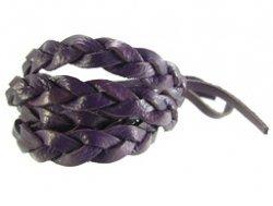 Gevlochten leren wrap armband paars