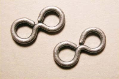 verbindings-8, oudzilver 14x7 mm, 1,2 mm dik