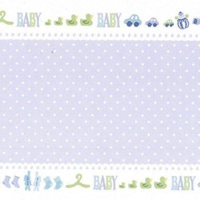 vouwkaart baby dots blauw 10x30,5 cm