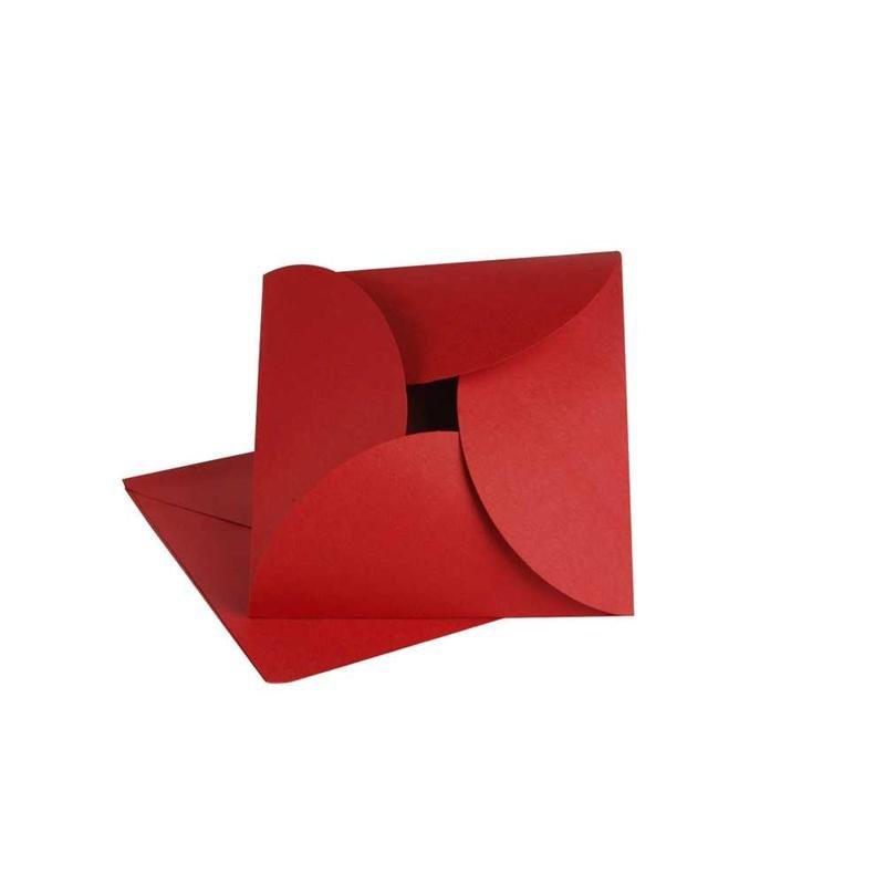 vouwkaart rood 12,5x12,5 cm