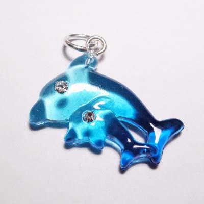 acryl dolfijnen blauw turkoois 16x22 mm