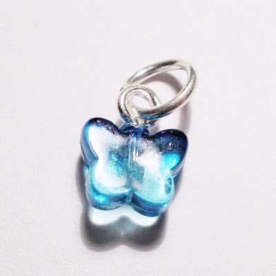 acryl vlindertje blauw turkoois 7x8 mm