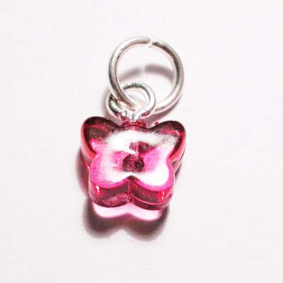acryl vlindertje roze rood 7x8 mm