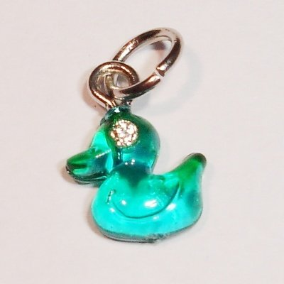 acryl eendje groen blauw 8x9 mm