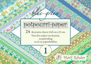 Potpourri paper boekje blue-green 15 x 21 cm