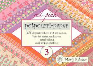 Potpourri paper boekje red-pink 15 x 21 cm